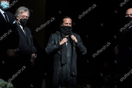 French singer Francis Lalanne (C)  after the funeral ceremony of the late French ballet star Patrick Dupond at Saint Roch church in Paris, France, 11 March 2021. Dupond has died on 05 March 2021 of illness. He was 61.