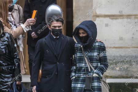 French cellist Gautier Capucon (C) leaves after the funeral ceremony of the late French ballet star Patrick Dupond at Saint Roch church in Paris, France, 11 March 2021. Dupond has died on 05 March 2021 of illness. He was 61.