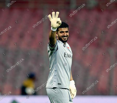 Al-Hilal's goalkeeper Abdullah Al-Mayouf gestures after winning the Saudi Professional League soccer match between Al-Wehda and Al-Hilal at King Abdulaziz Stadium, in Mecca, Saudi Arabia, 11 March 2021.