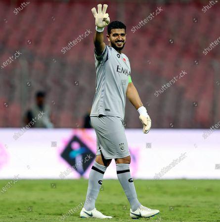 Stock Photo of Al-Hilal's goalkeeper Abdullah Al-Mayouf gestures after winning the Saudi Professional League soccer match between Al-Wehda and Al-Hilal at King Abdulaziz Stadium, in Mecca, Saudi Arabia, 11 March 2021.