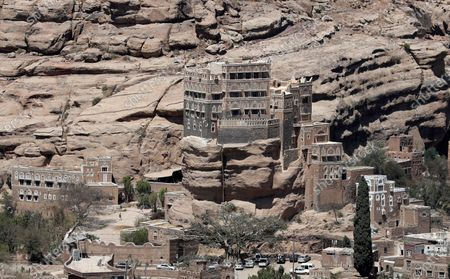 The Dar al-Hajar (Rock Palace) is perched atop a rock pinnacle on the outskirts of Sana'a, Yemen, 10 March 2021 (issued 11 March 2021). The historical five-storey palace of Dar al-Hajar was built in 1786 AD and is now one of Yemen's most popular tourist destinations, perching atop a rock pinnacle on the outskirts of Sana'a.