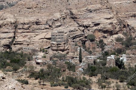 Stock Image of The Dar al-Hajar (Rock Palace) is perched atop a rock pinnacle on the outskirts of Sana'a, Yemen, 10 March 2021 (issued 11 March 2021). The historical five-storey palace of Dar al-Hajar was built in 1786 AD and is now one of Yemen's most popular tourist destinations, perching atop a rock pinnacle on the outskirts of Sana'a.