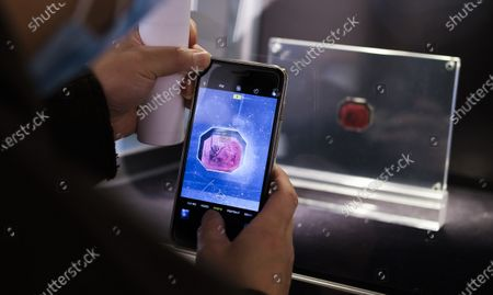 A person photographs at the 1873 British Guiana One-Cent Magenta stamp during a preview of an upcoming auction at Sotheby's in New York, New York, USA, 11 March 2021. The stamp, which is the only one of its kind that exists, is expected to sell for an estimated 10 - 15 million dollars / 8 - 12 million euros during an auction of items belonging to designer Stuart Weitzman on 08 June 2021 in New York.