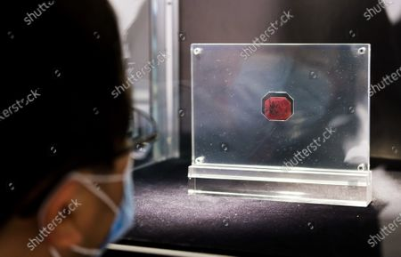 A person looks at the 1873 British Guiana One-Cent Magenta stamp during a preview of an upcoming auction at Sotheby's in New York, New York, USA, 11 March 2021. The stamp, which is the only one of its kind that exists, is expected to sell for an estimated 10 - 15 million dollars / 8 - 12 million euros during an auction of items belonging to designer Stuart Weitzman on 08 June 2021 in New York.