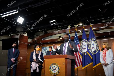 United States House Majority Whip James Clyburn (Democrat of South Carolina) offers remarks while joined by United States Senator Chris Murphy (Democrat of Connecticut), left, United States Representative Sheila Jackson-Lee left,(Democrat of Texas), second from left, United States Senator Richard Blumenthal (Democrat of Connecticut), third from left, and United States Representative Lucy McBath (Democrat of Georgia), right, for a press conference on passage of gun violence prevention legislation at the U.S. Capitol in Washington, DC,.