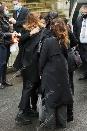 Fauve Hautot and Leila Da Rocha at the funeral of ballet dancer Patrick Dupond at Saint-Roch Church