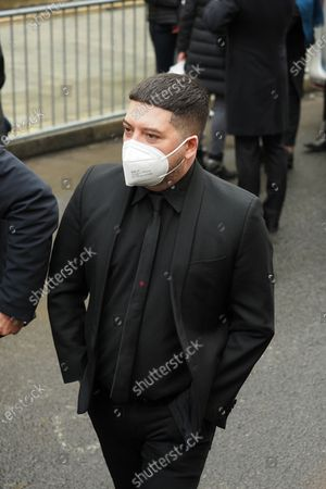 Chris Marques at the funeral of ballet dancer Patrick Dupond at Saint-Roch Church