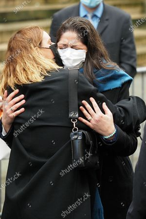 Stock Picture of Fauve Hautot and Leila Da Rocha at the funeral of ballet dancer Patrick Dupond at Saint-Roch Church
