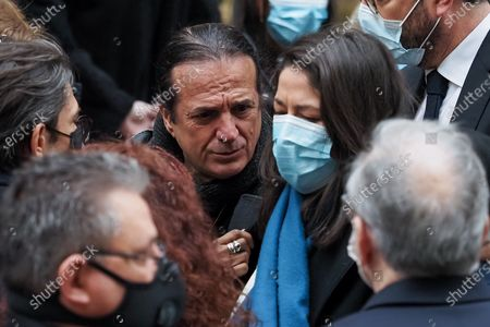 Francis Lalanne (L) and Wife choreographer Leila Da Rocha (R) attends Patrick Dupond's funeral at Saint-Roch Church