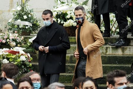 Stock Image of (L-R) Anthony Colette and Christian Millette attend Patrick Dupond's funeral at Saint-Roch Church