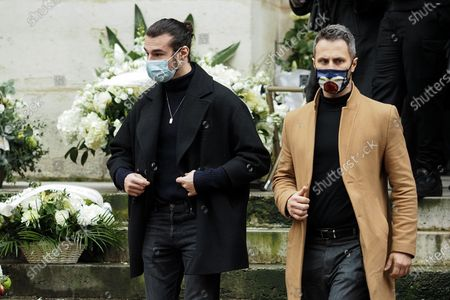 (L-R) Anthony Colette and Christian Millette attend Patrick Dupond's funeral at Saint-Roch Church