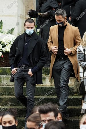 Stock Photo of (L-R) Anthony Colette and Christian Millette attend Patrick Dupond's funeral at Saint-Roch Church