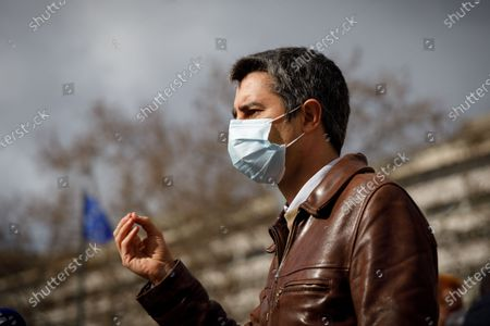 Francois Ruffin (deputy of France insoumise) during a rally of the staff of the pharmaceutical laboratory Sanofi in front of the ministry of economy and finance in Paris, March 11, 2021. The rally was called by unions (CGT, SUD) and political parties to protest against the company's social policy and to demand the abolition of the patents on vaccines against COVID-19.