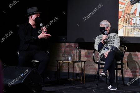 Steve Harrington and Legendary street art and graffiti photographer Martha Cooper speak at the Q and A after a screening of the documentary 'Martha: A Picture Story' at Fotografiska Museum of Photography in New York City.