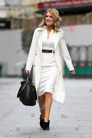 Charlotte Hawkins is seen departing the Global Radio Studios