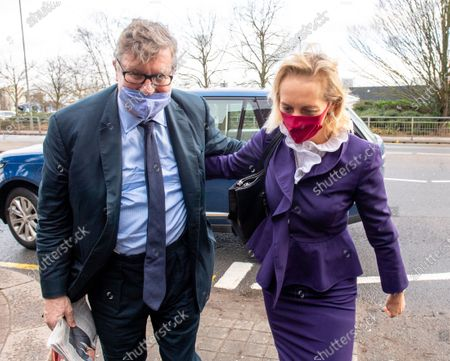 Stock Image of Hedge Fund manager Crispin Odey arrives at Hendon Magistrates with wife Nichola Pease this morning for the start of his assault trial