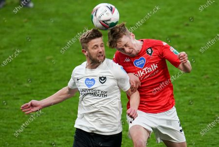 Michael Jacobs of Portsmouth, left, and Ashley Eastham of Salford City