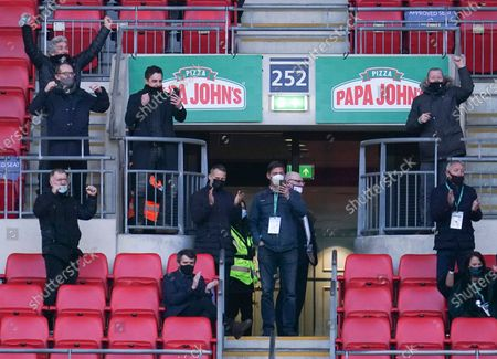 Salford City co-owners Gary Neville, Ryan Giggs and Paul Scholes celebrate