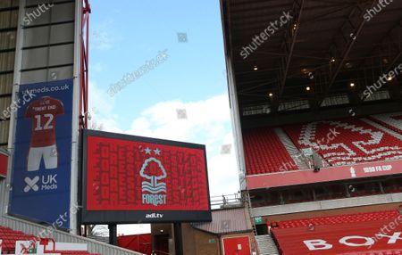 A view of the Brian Clough stand scoreboard