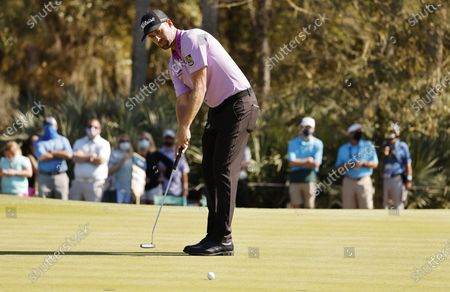 Webb Simpson of the US putts on the seventh hole during the second round of THE PLAYERS Championship golf tournament at TPC Sawgrass, in Ponte Vedra Beach, Florida, USA, 12 March 2021.