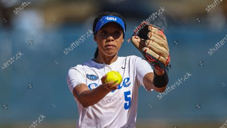 Stock Photo of Tennessee State's Raven Loveless throws to a batter during an NCAA college softball game against Tennessee Tech, in Nashville, Tenn
