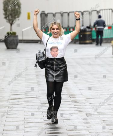 Sian Welby is seen departing from her Capital FM show at the Global Radio Studios.