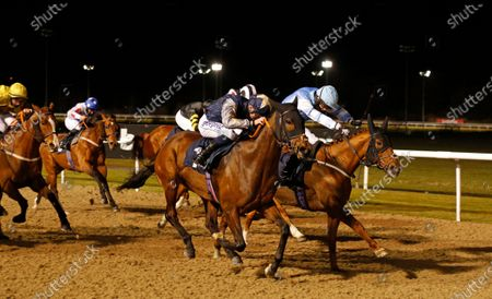 PLANSINA (centre, David Probert) beats QUOTELINE DIRECT (right) in The Play 4 To Score At Betway Handicap Div2 Wolverhampton