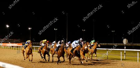 PLANSINA (3rd left, David Probert) beats QUOTELINE DIRECT (4th left) in The Play 4 To Score At Betway Handicap Div2 Wolverhampton