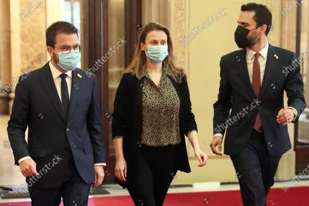 Pere Aragones, Meritxell Serret and Roger Torrent during the Constitutive Session of the XIII legislature of the Parliament of Catalonia, held in the Auditorium of the Parliament instead of the Hall of Sessions for the measures by the Covid-19, in Barcelona on 12th March 2021. 