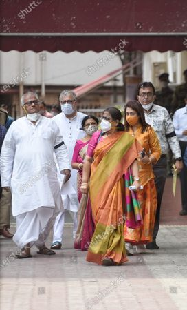 TMC leaders Saugat Rai, Derek O Brien, Satabdi Roy, Kakoli Dastidar and others leave Nirvachan Sadan after meeting the Election Commission of India, on March 12, 2021 in New Delhi, India. The TMC delegation met EC and demanded unbiased inquiry into the attack on West Bengal CM Mamata Banerjee in Nandigram.
