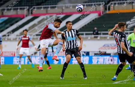 Aston Villa midfielder Mahmoud Hassan (17) shot is blocked during the Premier League match between Newcastle United and Aston Villa at St. James's Park, Newcastle