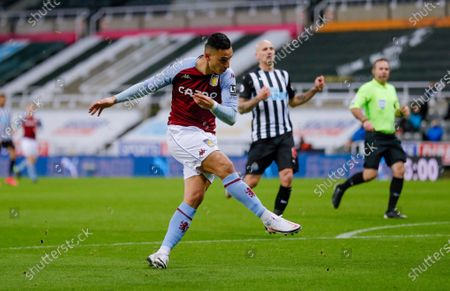 Aston Villa forward Anwar El Ghazi (21) shoots during the Premier League match between Newcastle United and Aston Villa at St. James's Park, Newcastle