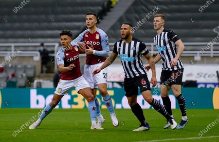 Aston Villa forward Ollie Watkins (11) and Aston Villa forward Anwar El Ghazi (21) wait for a cross during the Premier League match between Newcastle United and Aston Villa at St. James's Park, Newcastle