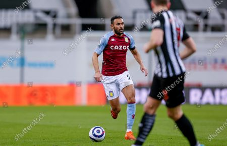 Stock Photo of Aston Villa defender Ahmed Elmohamady (27) runs with the ball during the Premier League match between Newcastle United and Aston Villa at St. James's Park, Newcastle