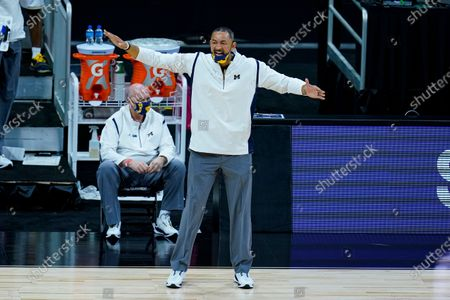 Michigan head coach Juwan Howard in the second half of an NCAA college basketball game against Michigan at the Big Ten Conference tournament in Indianapolis