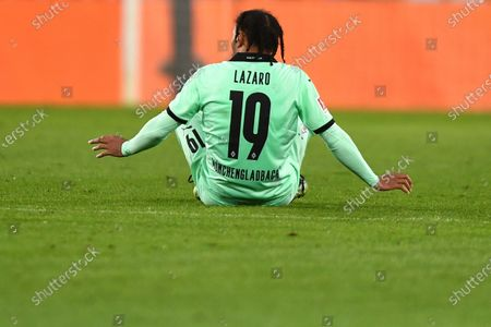Moenchengladbach's Valentino Lazaro reacts after the German Bundesliga soccer match between FC Augsburg and Borussia Moenchengladbach in Augsburg, Germany, 12 March 2021.