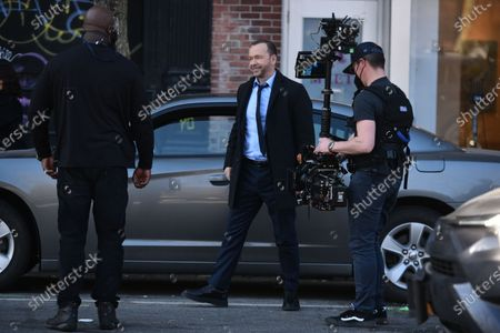 Donnie Wahlberg filming on set for the TV show 'Blue Bloods' on the Lower East Side.