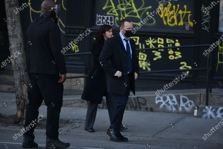 Donnie Wahlberg and Marisa Ramirez filming on set for the TV show 'Blue Bloods' on the Lower East Side.
