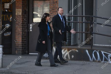Stock Image of Donnie Wahlberg and Marisa Ramirez filming on set for the TV show 'Blue Bloods' on the Lower East Side.