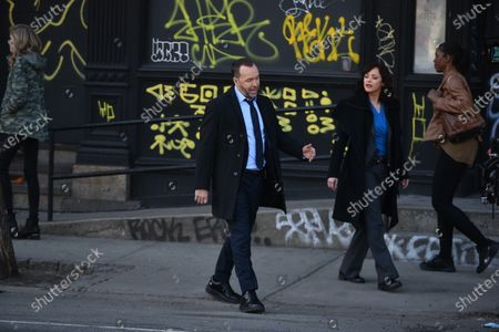 Stock Photo of Donnie Wahlberg and Marisa Ramirez filming on set for the TV show 'Blue Bloods' on the Lower East Side.