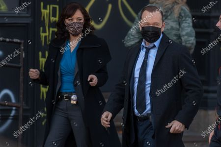 Donnie Wahlberg and Marisa Ramirez filming on set for the TV show 'Blue Bloods' on the Lower East Side.12 Mar 2021