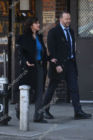 Stock Picture of Donnie Wahlberg and Marisa Ramirez filming on set for the TV show 'Blue Bloods' on the Lower East Side.12 Mar 2021