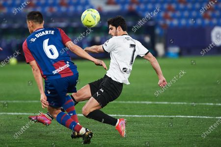 Gonzalo Guedes of Valencia CF and Oscar Duarte of Levante UD during the La Liga Santander match between Levante and Valencia at Estadio Ciutat de Valencia on 12 March, 2021 in Valencia, Spain