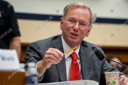 """National Security Commission Chairman Dr. Eric Schmidt responds to questions during a House Armed Services Committee, Subcommittee on Cyber, Innovative Technologies, and Information Systems and the House Committee on Oversight & Reform's Subcommittee on National Security Joint hearing: """"Final Recommendations of the National Security Commission on Artificial Intelligence"""" in the Rayburn House Office Building in Washington, DC,."""