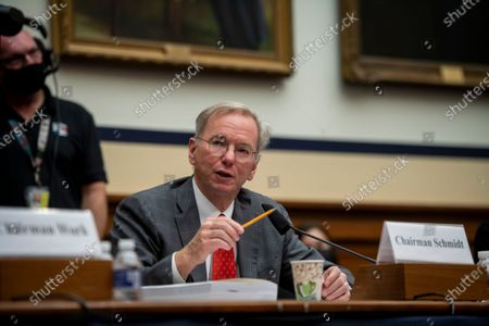 """Stock Photo of National Security Commission Chairman Dr. Eric Schmidt responds to questions during a House Armed Services Committee, Subcommittee on Cyber, Innovative Technologies, and Information Systems and the House Committee on Oversight & Reform's Subcommittee on National Security Joint hearing: """"Final Recommendations of the National Security Commission on Artificial Intelligence"""" in the Rayburn House Office Building in Washington, DC,."""