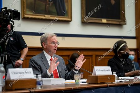 """Stock Picture of National Security Commission Chairman Dr. Eric Schmidt responds to questions during a House Armed Services Committee, Subcommittee on Cyber, Innovative Technologies, and Information Systems and the House Committee on Oversight & Reform's Subcommittee on National Security Joint hearing: """"Final Recommendations of the National Security Commission on Artificial Intelligence"""" in the Rayburn House Office Building in Washington, DC,."""