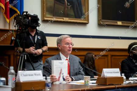 """Stock Image of National Security Commission Chairman Dr. Eric Schmidt responds to questions during a House Armed Services Committee, Subcommittee on Cyber, Innovative Technologies, and Information Systems and the House Committee on Oversight & Reform's Subcommittee on National Security Joint hearing: """"Final Recommendations of the National Security Commission on Artificial Intelligence"""" in the Rayburn House Office Building in Washington, DC,."""