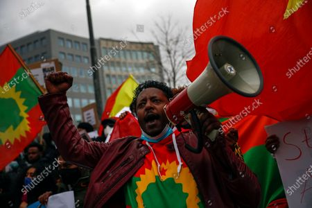 Supporter of Tigray Regional Government shout slogans against Ethiopian Prime Minister Abiy Ahmed during a protest outside EU headquarters in Brussels, . Protesters demanded the help of the EU to end the conflict in Ethiopia's Tigray region