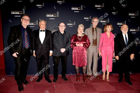 French actors Bruno Moynot, French actor Christian Clavier, French director and actor Michel Blanc, French actress Josiane Balasko, French actor Thierry Lhermitte, French actress Marie-Anne Chazel and French actor Gerard Jugnot