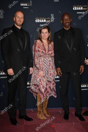 John Wax, Sidonie Dumas and Jean-Pascal Zadi arrive at the 46th Cesar Film Awards Ceremony at the 46th Cesar Film Awards 2021 ceremony at l'Olympia in Paris